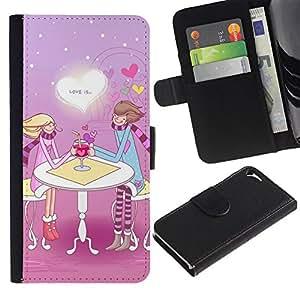 Paccase / Billetera de Cuero Caso del tirón Titular de la tarjeta Carcasa Funda para - Cute Love Couple - Apple Iphone 5 / 5S