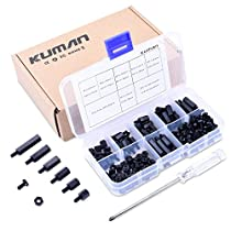 kuman 180 pieces M3 Nylon Male Female Hex Utility Spacer Standoff Screw Nut Assortment Mounting Hardware Kit,Prototyping Accessories For PCB,FPV,Quadcopter Drone, RC, for Arduino Circuit Board Witha Cross Screwdriver K79