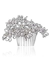 Ever Faith Wedding Hair Comb Flower Cluster Clear Austrian Crystal Silver-Tone A07500-1