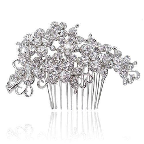 EVER FAITH Bridal Hair Comb Flower Cluster Clear Austrian Crystal Silver-Tone