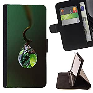 DEVIL CASE - FOR Apple Iphone 6 - Nature Life Water Drop - Style PU Leather Case Wallet Flip Stand Flap Closure Cover