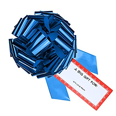 "CarBowz Big 16"" Car Bow, Vinyl Sticker Gift Tag Included, Giant Pull Bow for Cars, Weather Resistant, Non-Scratch Suction Cup (Blue Bow with Red Border): Automotive"