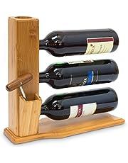 Relaxdays Wijnrek voor 3 flessen H x B x D: 32 x 12 x 34 cm wijnrek om neer te zetten van bamboe klein flessenrek met ruimte voor kurk en opener, flessenhouder, wijnflessenhouder hout, naturel