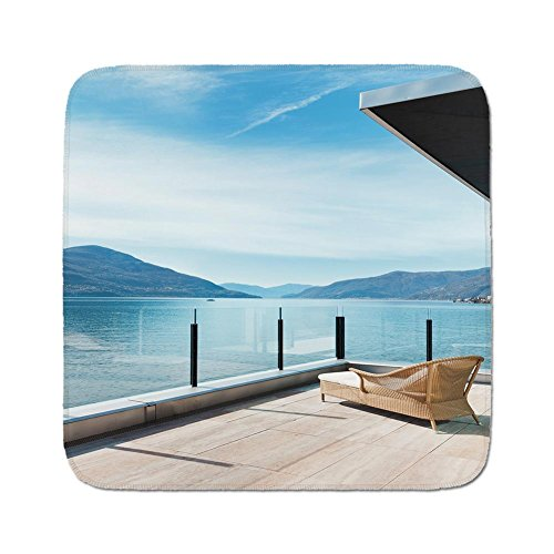 Penthouse Accent - Cozy Seat Protector Pads Cushion Area Rug,Patio Decor,Penthouse Terrace with Ocean Sea and Mountain Landscape Photo,Sky Blue Black and White,Easy to Use on Any Surface