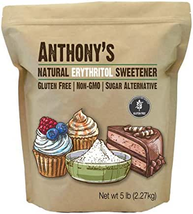 Anthony's Erythritol Granules, 5lbs, Non GMO, Natural Sweetener, Keto & Paleo Friendly