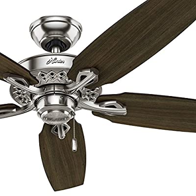 "Hunter 52"" Brushed Nickel Finish Traditional Ceiling Fan with 5 Dark Walnut / Cherry Reversible Composite Blades (Certified Refurbished)"