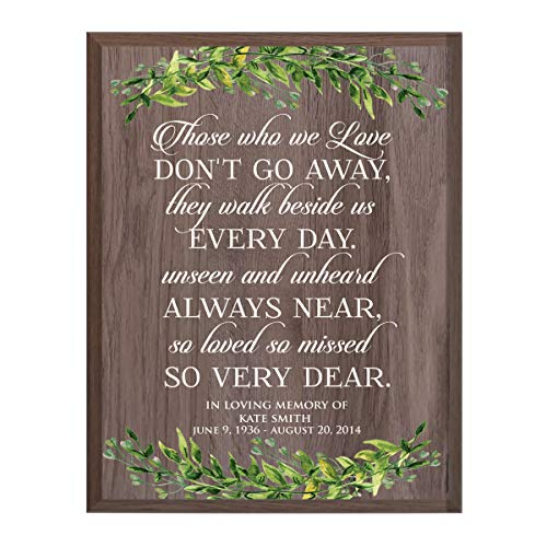 (LifeSong Milestones Personalized Those Who We Love Sympathy Gifts for Loss of Loved one Bereavement Wall Plaque for Loss of Mother Father Child with Leaf Border (Salt)