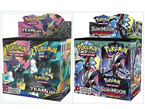 Pokémon TCG Sun & Moon Team Up Booster Box + Sun & Moon Guardians Rising Booster Box Pokémon Trading Cards Game Bundle, 1 of Each.