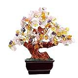 Multi Color Crysta Gem Stone Money Tree-amethyst Rose Quartz Citrine Carnelian Clear Quartz Feng Shui Colorful Crytal Gem Money Tree