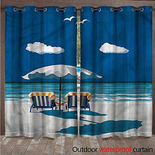 cobeDecor Coastal Outdoor Curtain for Patio Couple on Deck Chairs Beach W84 x L96(214cm x 245cm)