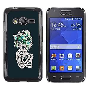 LECELL--Funda protectora / Cubierta / Piel For Samsung Galaxy Ace 4 G313 SM-G313F -- Floral Heart Skull Skeleton Flowers --