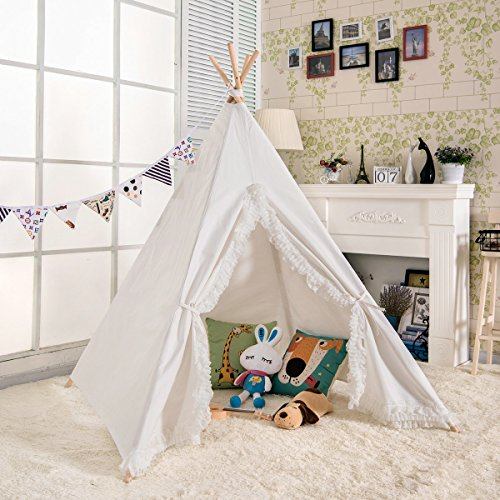 nvas Kids Play Teepee Children Tipi Play Tent - White with Lace Edge (Side Burner Connector Package)