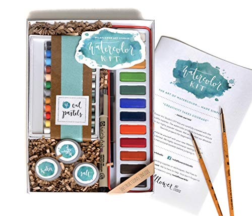 """DIY Watercolor Kit for Beginners - Includes Project Guides & Detailed Instructions - Wildflower Art Studio's Signature """"Watercolor Class in a Box"""""""