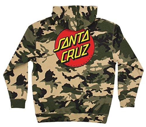 (Santa Cruz Skateboards Classic Dot Hooded Pullover Sweatshirt (Army Camo, Large))