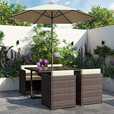 Fortrose 4 seater Rattan Cube Dining Set with Parasol Brown