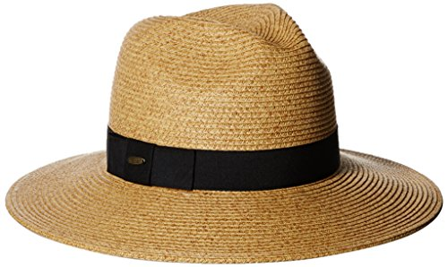 Scala Women's Paper Braid Fedora Hat with Ribbon, Toast, One (Paper Braid Fedora Hat)
