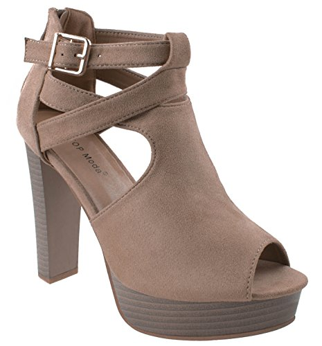 Top Moda Shoes Women's Lovely-90 Taupe Peep Toe Platform High Heels Criss Crossed Straps Back Zipper 8.5 D(M) (Taupe High Heel Peep Toe)