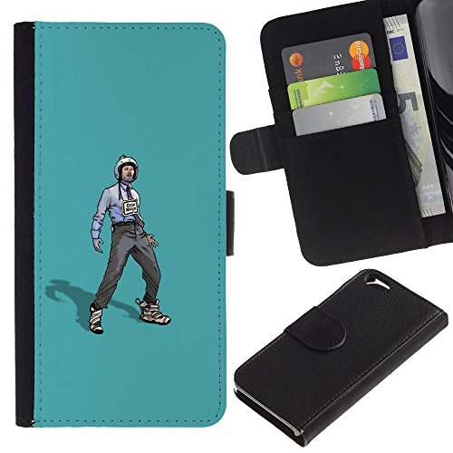 Funny Phone Case // Cuir Portefeuille Housse de protection Étui Leather Wallet Protective Case pour Apple Iphone 6 / Rebel Worker /