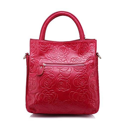 Diseñador bolso de cuero genuino mujeres bolsa de hombro Floral Embossed bolso de hombro de Realer Rosa roja