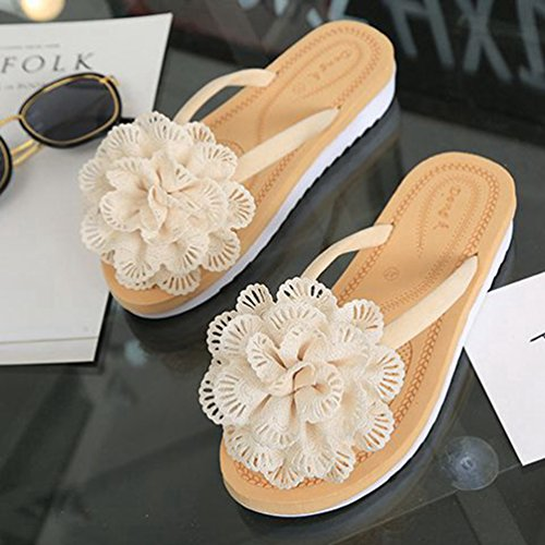 Beach Plat String Mode Femmes blanc Beige Bohème Pantoufles Dentelle Tongs Summer Confort Fleur JRenok Sandales w0vYqBPqR