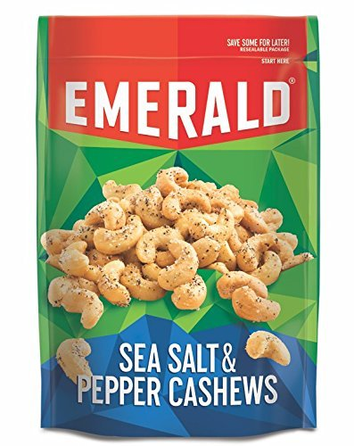 Emerald Sea Salt and Pepper Cashews, Stand Up Resealable Bag, 5.5 Ounce - Store Emerald