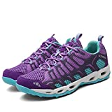 TZTONE Unisex Breathable Quick-Dry Hiking Shoes Mountaineering Shoes for Men Women Outdoor Walking Sneakers HS666-thickendarkpurple-40