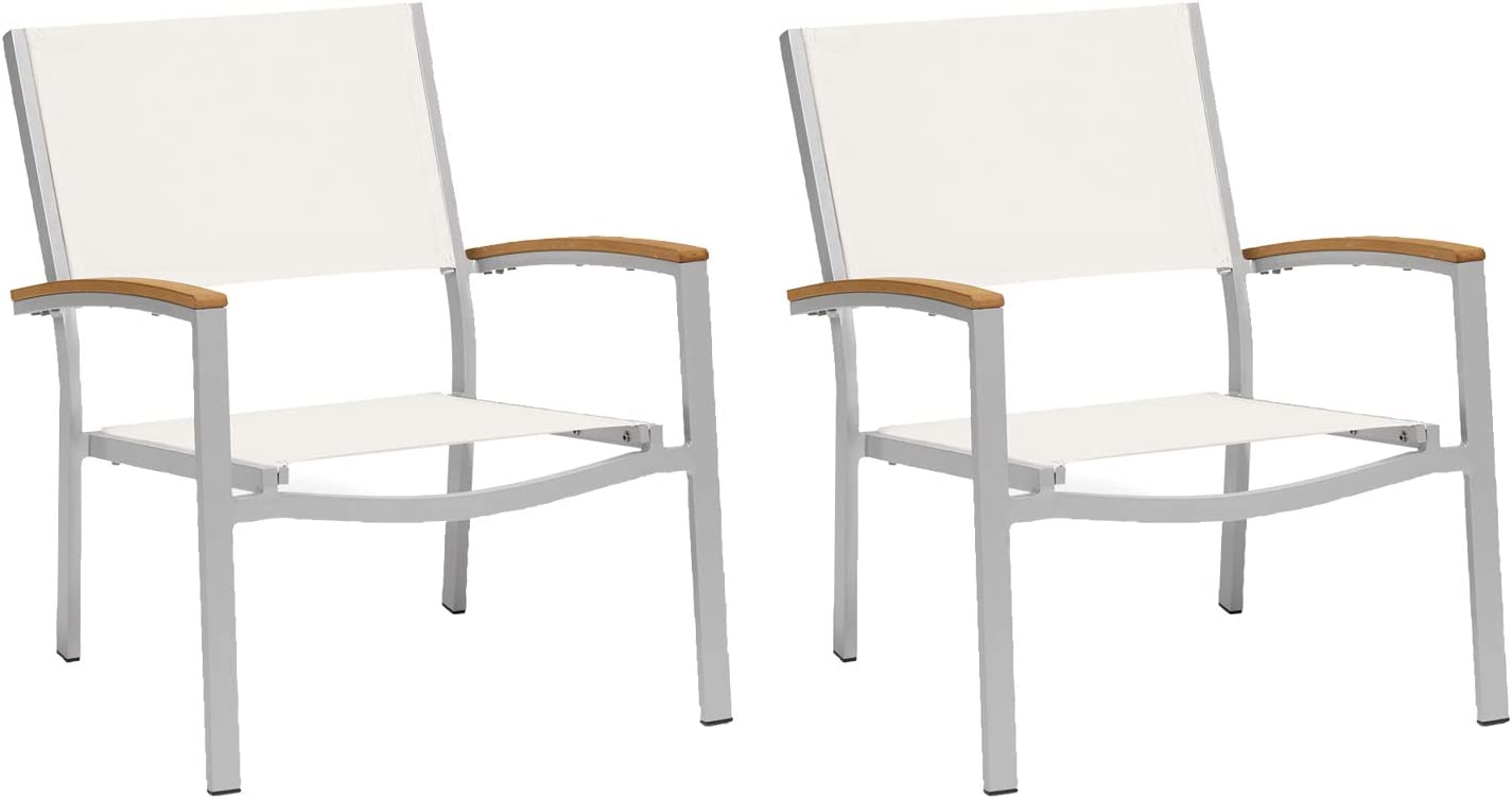 Oxford Garden - Travira Collection Chat Chair - Natural Sling Seat - Natural Tekwood Armcaps - Set of 2