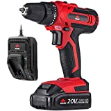 Cordless Drill Driver - NoCry 20V Cordless Drill Kit - 266 in-lb (30 N.m) Max Torque Driver, 2 Gear Speeds (Max 1400 RPM), 3/8 inch Chuck, 21+1 Clutch Positions, LED work light; 1.5 Ah Battery & Fast Charger Included