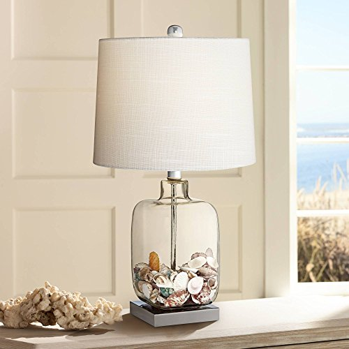 Coastal Accent Table Lamp Clear Glass Fillable Sea Shells White Drum Shade for Living Room Family Bedroom Bedside - 360 Lighting Clear Blown Glass Table Lamp