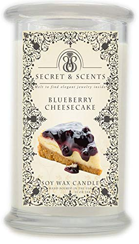 Elegant Jewelry in Soy Candle - Secret and Scents Highly Scented Soy Candles - Pick Your Scent and Jewelry Type (Blueberry Cheesecake, Earrings)