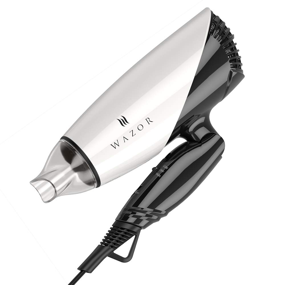 Wazor Pro Professional 1875W Lightweight Smart Voltage Hair Dryer for Home and Travel Use, Folding Handle Blow Dryer with Tourmaline Ceramic, DC Motor,1 Concentrator by MHU