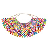 Fashion Jewelry Chain CCB Resin Beads Charm Choker Chunky Statement Bib Necklace (Multi-Color 1)