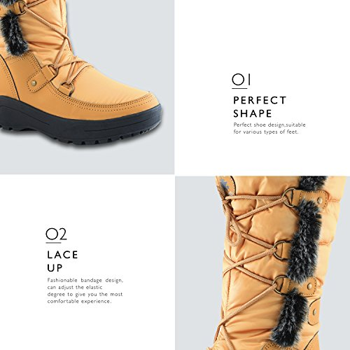 Eskimo Mustard Water Resistant Snow up High Boots Knee Fur Woman's DailyShoes Warm Women's 7Cawaqgx