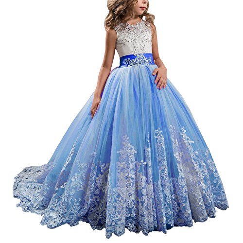 Princess Royal Blue Long Girls Pageant Dresses Kids Prom Puffy Tulle Ball Gown US 2
