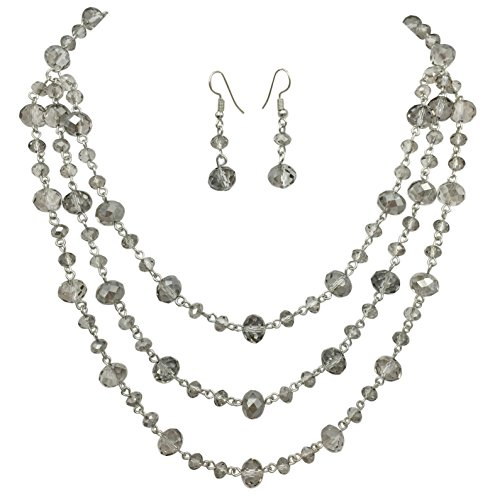(Gypsy Jewels 3 Row Layered Beveled Glass Beaded Boutique Style Necklace And Earrings Set (Light)