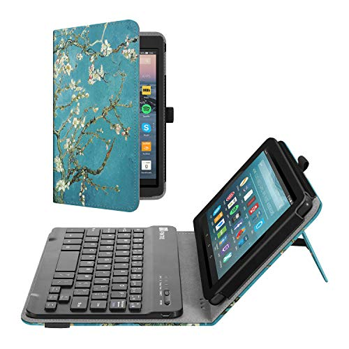 Fintie Folio Keyboard Case for All-New Amazon Fire 7 (9th Generation, 2019 Release), Slim Fit PU Leather Stand Cover with All-ABS Hard Material Removable Wireless Bluetooth Keyboard, Blossom