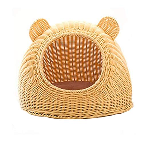 Leisure Ins Style Four Seasons Universal Manual Rattan Cat House Natural Wicker Weaving Durable Warm Breathable Cool Removable Convenient Washable Round-Faced Cat ()
