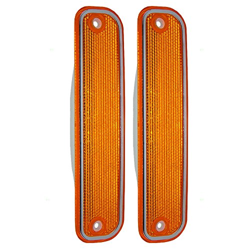 Pair of Front Signal Side Marker Lights Lamps with Chrome Trim Replacement for Chevrolet GMC Pickup Truck SUV 6270434 AutoAndArt