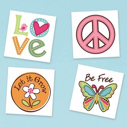 Amscan Hippie Chick Birthday Party Temporary Tattoo Favor (16 Pack), 2