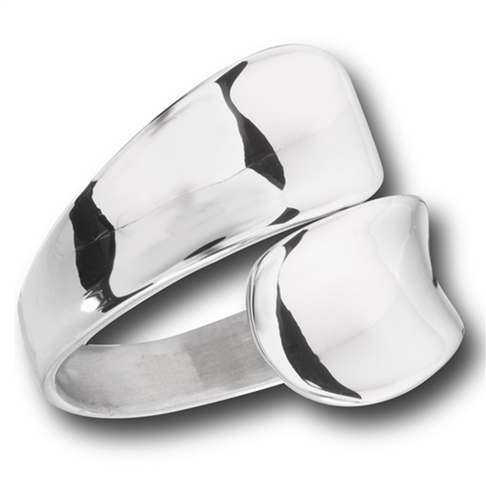 Modern Double Spoon Curved Concave Wrap Ring New Stainless Steel Band Sizes 6-10 Sac Silver