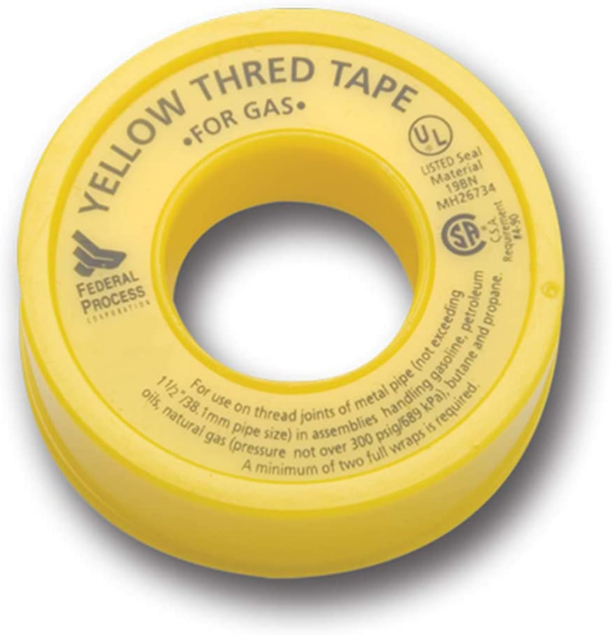 260 x 1//2 in PTFE Pipe Thread Tape in Yellow Pack of 20