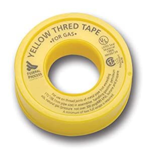 """Gasoila Yellow PTFE High Density Thred Tape Roll, -450 to 550 Degree F Performance Temperature, 3.8 mil Thick, 260"""" Length, 1/2"""" Width, For Gas"""