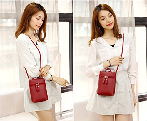 for Cellphone Shoulder PU Purse Red Bag Mini Womens Crossbody Leather Single Girls qFSHAAz
