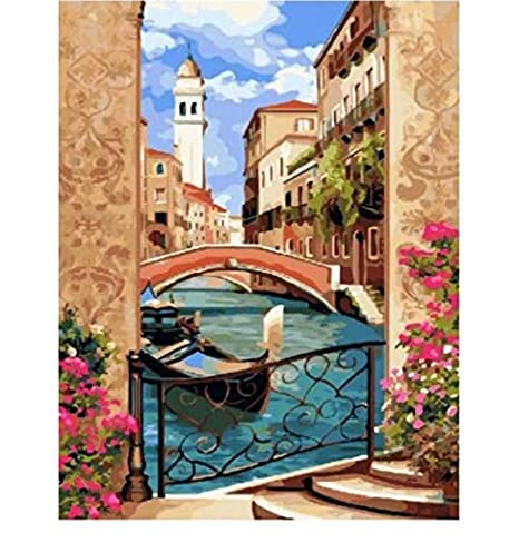 Amazon Com Cykejisd Venice Spring Diy Painting By Numbers