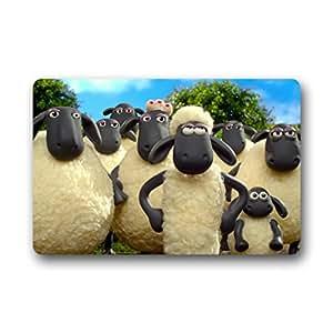Lavable a máquina nuevo diseño a la Moda de la oveja Shaun 'Bienvenido' Felpudo tamaño 18(L) X30(W), about 46cm (L) x77cm (W), jardín y casa interior y al aire libre uso antideslizante puerta piso