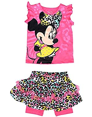 Minnie Mouse Baby Girl Ruffle Sleeve T Shirt & Animal Print Skirt Outfit