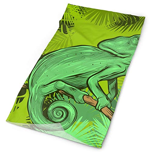 BEcause Headbands for Women Men,Tropical Leaf Chameleon Magic Headwear Bandana Scarf, Neckwarmer for Riding,Motorcycling,Hiking,Fishing