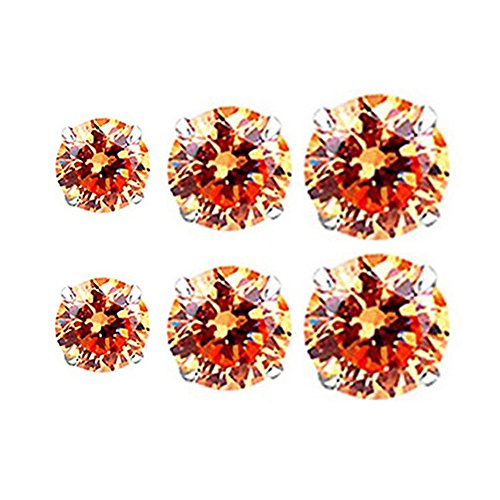 Gem Earring Set - 3 Pairs Set Sterling Silver Round Cut Stud Earrings for Womens/Mens
