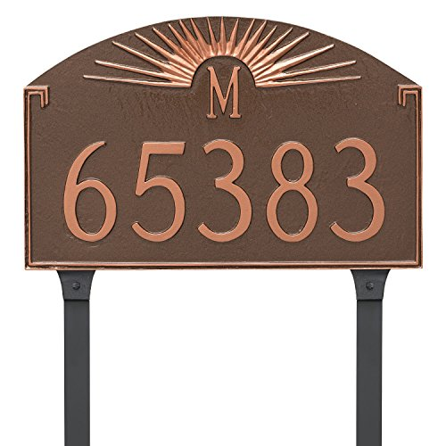 Montague Metal Sunburst Monogram Address Sign Plaque with Lawn Stakes, 10.25