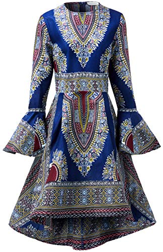 (Shenbolen Women African Print Dresses Autumn and Winter Long Sleeves Ankara)